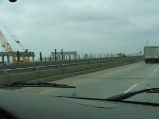 Construction on the I-10 Twin Span Bridge