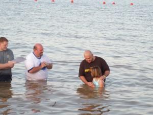 Josh baptizing Sarai
